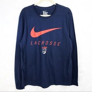 NWT Lacrosse USA The Nike Tee LS Navy L